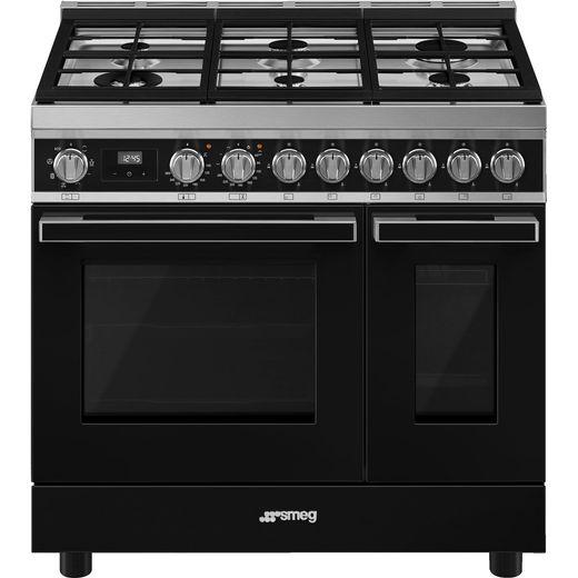Smeg Portofino CPF92GMBL Gas Range Cooker - Black - A Rated
