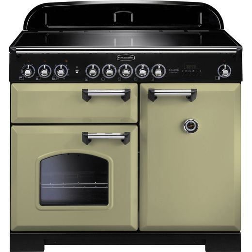 Rangemaster Classic Deluxe CDL100EIOG/C 100cm Electric Range Cooker with Induction Hob - Olive Green - A/A Rated