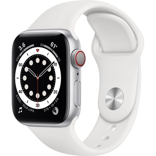 Apple Watch Series 6, 40mm, GPS + Cellular [2020] - Silver Aluminium Case with White Sport Band