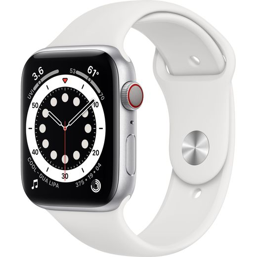 Apple Watch Series 6, 44mm, GPS + Cellular [2020] - Silver Stainless Steel Case with White Sport Band