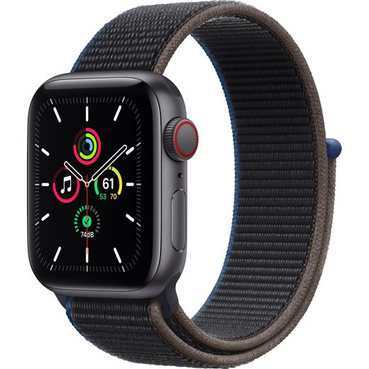 Apple Watch SE, 40mm, GPS + Cellular [2020] - Space Grey Aluminium Case with Charcoal Sport Loop
