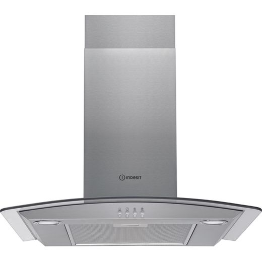 Indesit IHGC6.5LMX 60 cm Chimney Cooker Hood - Stainless Steel - D Rated