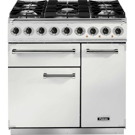 Falcon 900 DELUXE F900DXDFWH/NM 90cm Dual Fuel Range Cooker - White - A/A Rated
