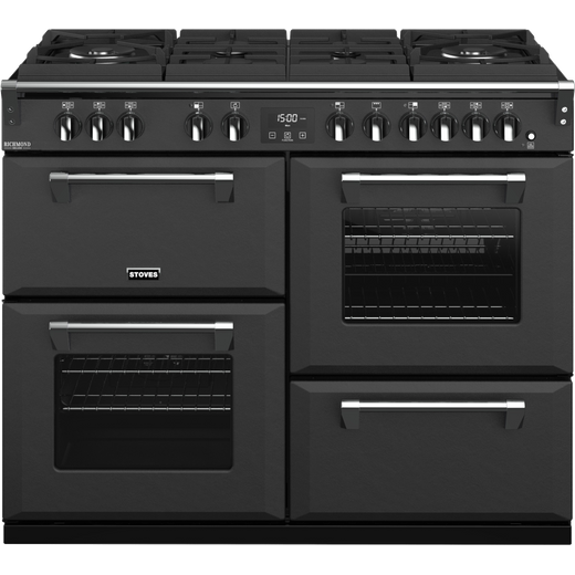 Stoves Colour Boutique Collection Richmond Deluxe S1100DF GTG CB 110cm Dual Fuel Range Cooker - Anthracite - A Rated