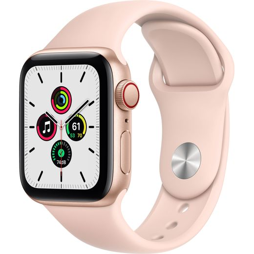 Apple Watch SE, 40mm, GPS + Cellular [2020] - Gold Aluminium Case with Pink Sand Sport Band