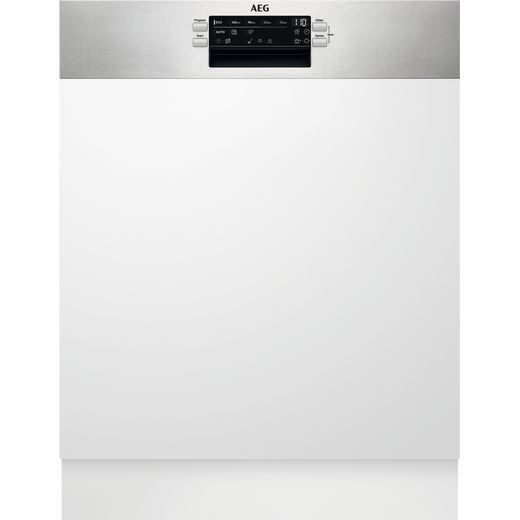 AEG FEE63600ZM Semi Integrated Standard Dishwasher - Stainless Steel Control Panel - D Rated