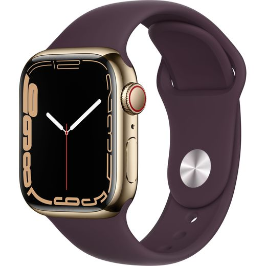 Apple Watch Series 7, 41mm, GPS + Cellular [2021] - Gold Stainless Steel Case with Dark Cherry Sport Band