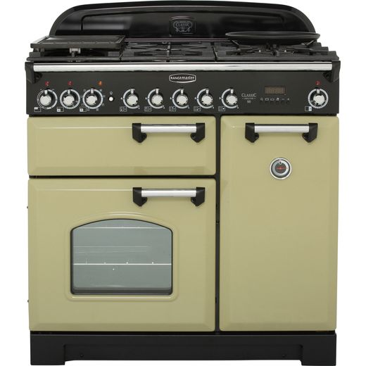 Rangemaster Classic Deluxe CDL90DFFOG/C 90cm Dual Fuel Range Cooker - Olive Green - A/A Rated