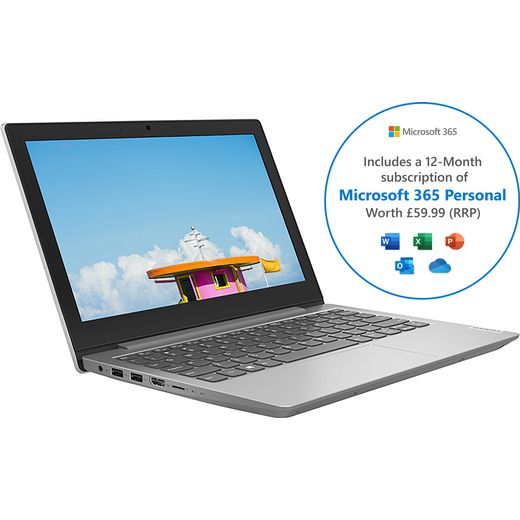 """Lenovo IdeaPad 1 11.6"""" Includes Microsoft 365 Personal 12-month subscription with 1TB Cloud Storage Laptop - Slate"""