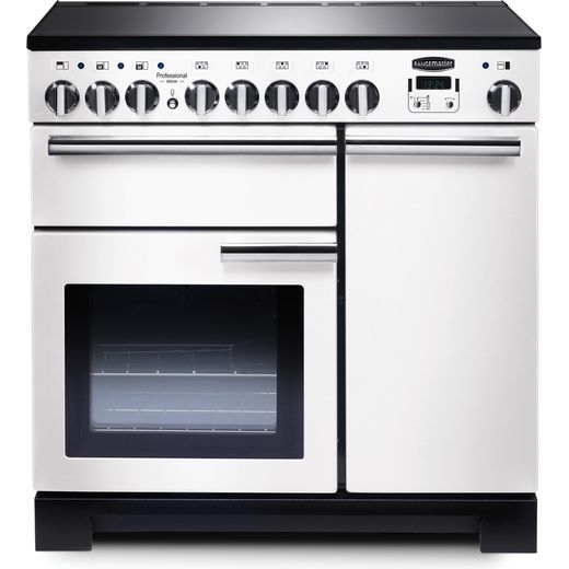 Rangemaster Professional Deluxe PDL90EIWH/C 90cm Electric Range Cooker with Induction Hob - White / Chrome - A/A Rated