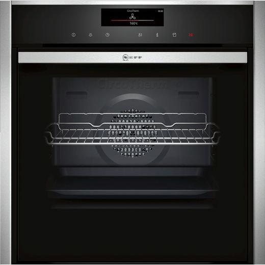 NEFF N90 Slide&Hide® B48FT78H0B Wifi Connected Built In Electric Single Oven with added Steam Function - Stainless Steel - A+ Rated