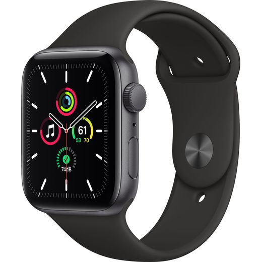 Apple Watch SE, 44mm, GPS [2020] - Space Grey Aluminium Case with Black Sport Band