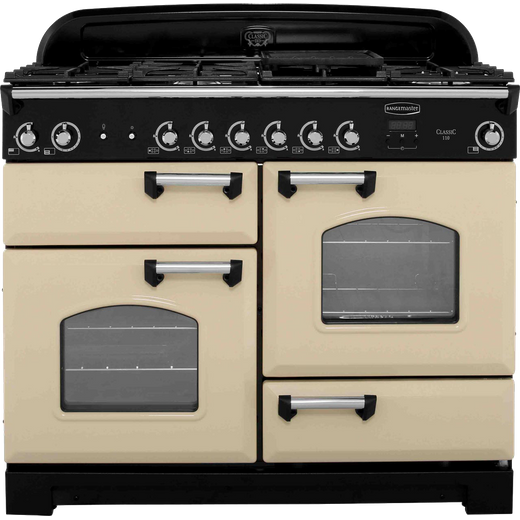 Rangemaster Classic CLA110NGFCR/C 110cm Gas Range Cooker - Cream / Chrome - A+/A+ Rated