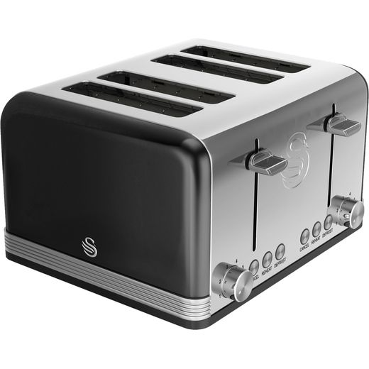 Swan Retro ST19020BN 4 Slice Toaster - Black