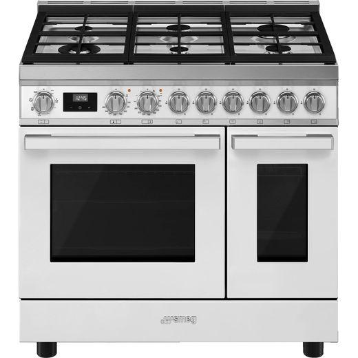 Smeg Portofino CPF92GMWH Gas Range Cooker - White - A Rated