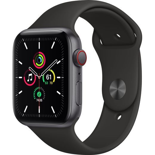 Apple Watch SE, 44mm, GPS + Cellular [2020] - Space Grey Aluminium Case with Black Sport Band