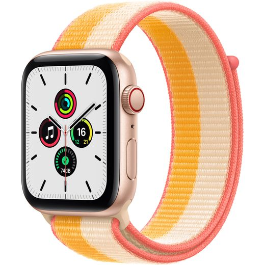 Apple Watch SE, 44mm, GPS + Cellular [2021] - Gold Aluminium Case with Maize/White Sport Loop