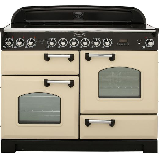 Rangemaster Classic Deluxe CDL110ECCR/C 110cm Electric Range Cooker with Ceramic Hob - Cream / Chrome - A/A Rated