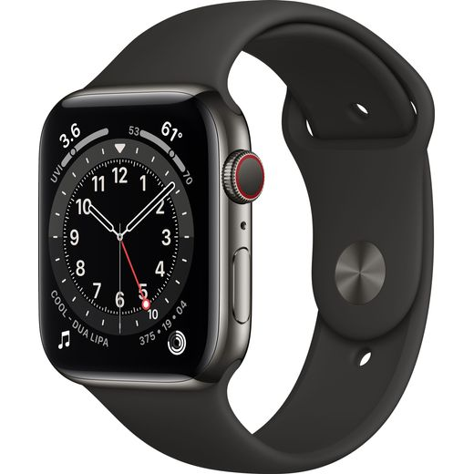 Apple Watch Series 6, 44mm, GPS + Cellular [2020] - Graphite Stainless Steel Case with Black Sport Band