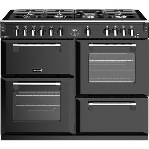 Stoves Richmond Deluxe S1100G 110cm Gas Range Cooker with Electric Grill - Black - A/A/A Rated