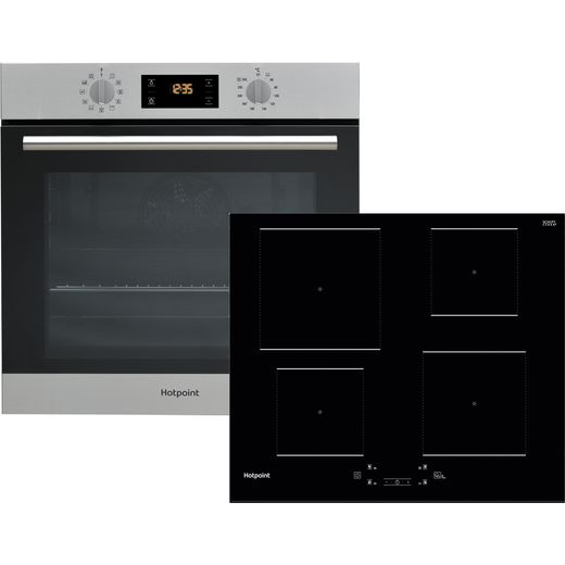 Hotpoint K003019 Built In Electric Single Oven and Induction Hob Pack - Stainless Steel / Black - A+ Rated