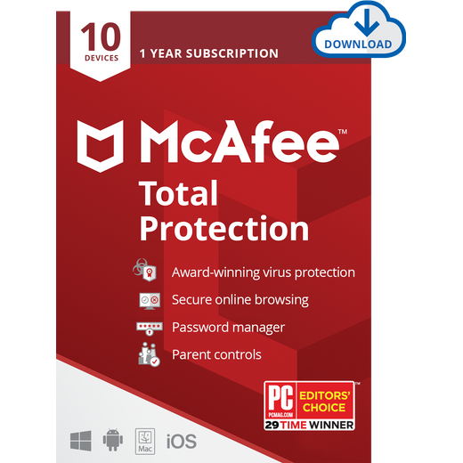 McAfee Total Protection Digital Download for 10 Devices - One Time Purchase, 1 Year Subscription