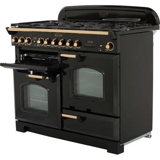 Rangemaster Classic Deluxe CDL110DFFBL/B 110cm Dual Fuel Range Cooker - Black / Brass - A/A Rated