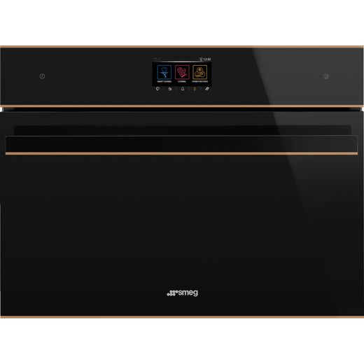 Smeg Dolce Stil Novo SF4604WMCNR Wifi Connected Built In Compact Electric Single Oven with Microwave Function - Black / Copper