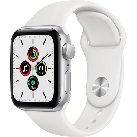 Apple Watch SE, 40mm, GPS [2020] - Silver Aluminium Case with White Sport Band