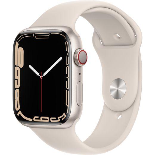Apple Watch Series 7, 45mm, GPS + Cellular [2021] - Starlight Aluminium Case with Starlight Sport Band