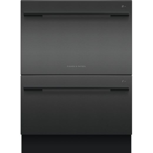 Fisher & Paykel Double DishDrawer™ DD60DDFHB9 Semi Integrated Standard Dishwasher - Black Steel Control Panel with Fixed Door Fixing Kit - E Rated