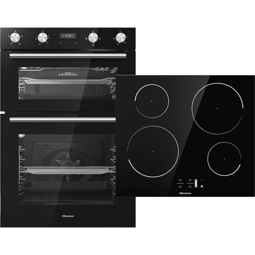 Hisense BI6095IGUK Built In Electric Electric Double Oven and Induction Hob Pack - Black - A/A Rated