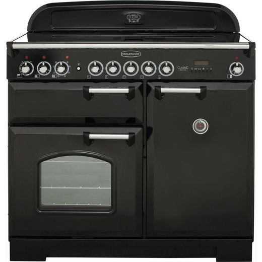 Rangemaster Classic Deluxe CDL100EIBL/C 100cm Electric Range Cooker with Induction Hob - Black - A/A Rated