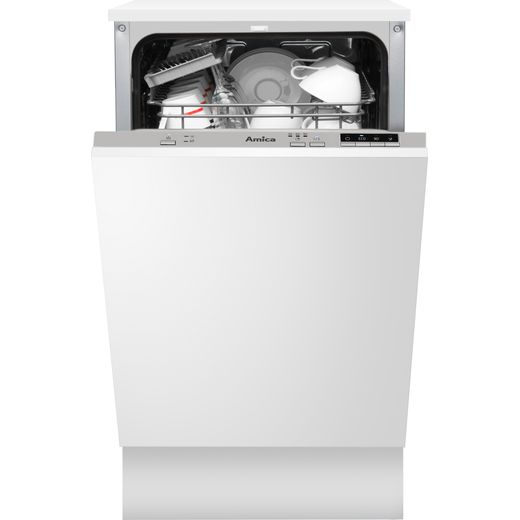 Amica ADI430 Fully Integrated Slimline Dishwasher - Silver Control Panel with Fixed Door Fixing Kit - E Rated
