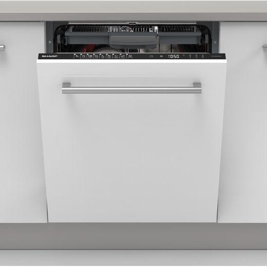 Sharp QW-NI54I44DX-EN Fully Integrated Standard Dishwasher - Black Control Panel - D Rated