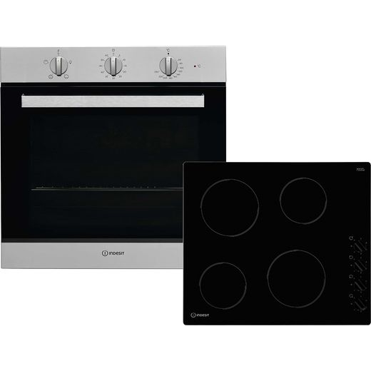 Indesit Aria K002979 Built In Electric Single Oven and Ceramic Hob Pack - Stainless Steel / Black - A Rated