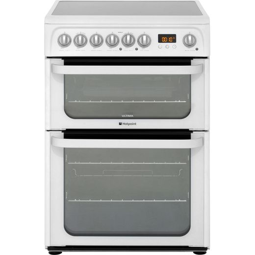 Hotpoint Ultima HUE61PS Electric Cooker with Ceramic Hob - White - A/A Rated