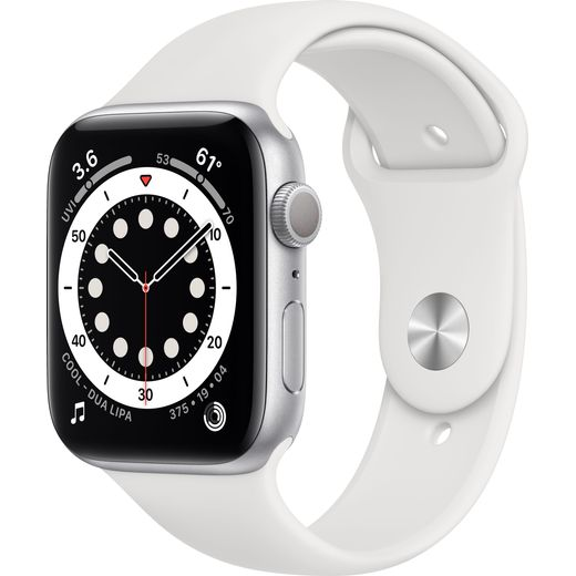 Apple Watch Series 6, 44mm, GPS [2020] - Silver Aluminium Case with White Sport Band