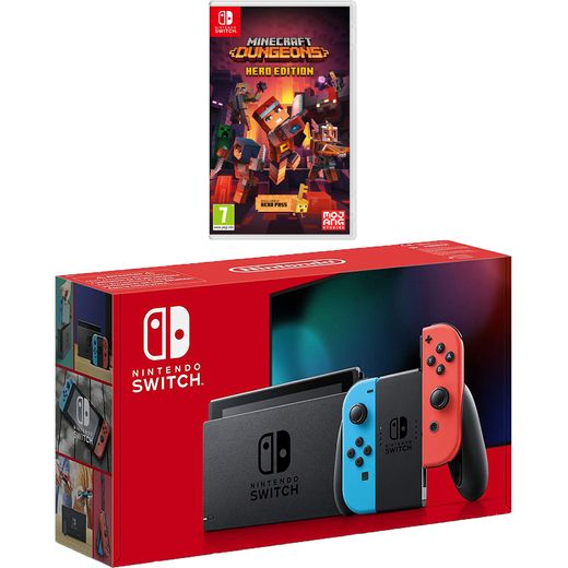 Nintendo Switch 32GB with Minecraft Dungeons - Neon Red/Blue