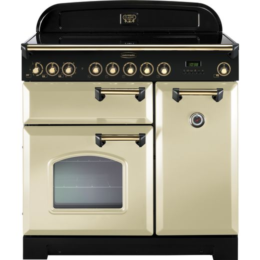 Rangemaster Classic Deluxe CDL90EICR/C 90cm Electric Range Cooker with Induction Hob - Cream / Chrome - A/A Rated