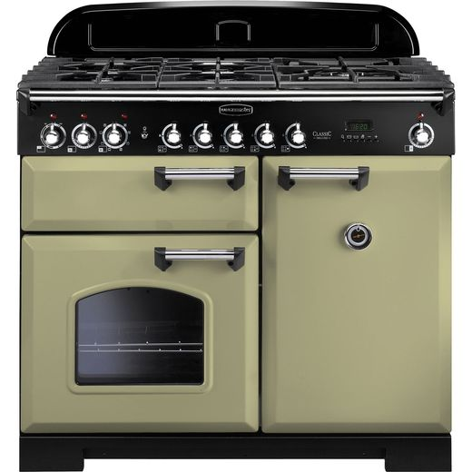 Rangemaster Classic Deluxe CDL100DFFOG/C 100cm Dual Fuel Range Cooker - Olive Green - A/A Rated