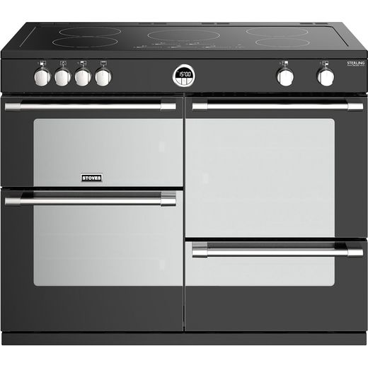 Stoves Sterling Deluxe S1100EI 110cm Electric Range Cooker with Induction Hob - Black - A/A/A Rated