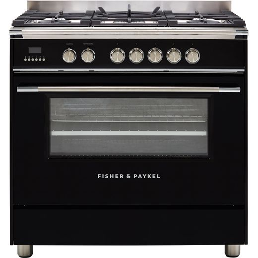Fisher & Paykel Classic OR90SCG4B1 90cm Dual Fuel Range Cooker - Black - A Rated