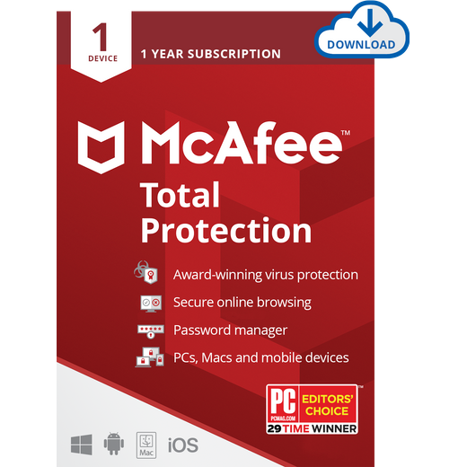 McAfee Total Protection Digital Download for 1 Device - One Time Purchase, 1 Year Subscription