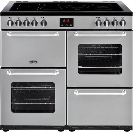 Belling SANDRINGHAM100E 100cm Electric Range Cooker with Ceramic Hob - Silver - A/A Rated