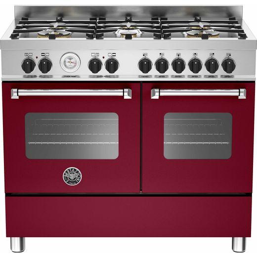 Bertazzoni Master Series MAS100-6-MFE-D-VIE 100cm Dual Fuel Range Cooker - Burgundy - A/A Rated