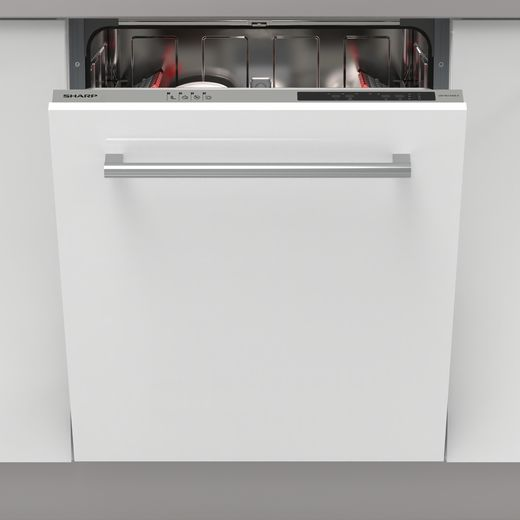 Sharp QW-NI13I49EX-EN Fully Integrated Standard Dishwasher - Silver Control Panel - E Rated