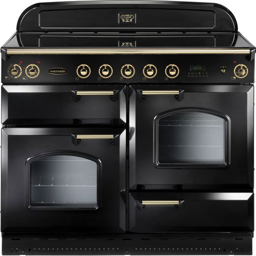 Rangemaster Classic Deluxe CDL110EIBL/B 110cm Electric Range Cooker with Induction Hob - Black / Brass - A/A Rated