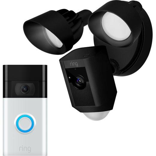 Ring Floodlight Cam Network Surveillance Cam Full HD 1080p with Video Doorbell - Black