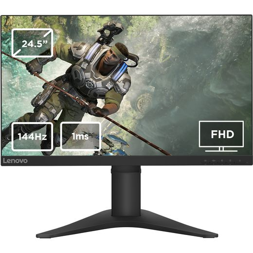 """Lenovo G25-10 Full HD 24.5"""" 144Hz Gaming Monitor with AMD FreeSync and G-Sync Certified - Black"""